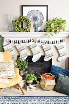 global style boho chic winter mantel