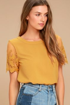 a1c045af671404 Be the cutest girl at brunch in the Lisa Marie Mustard Yellow Embroidered  Top! Textured