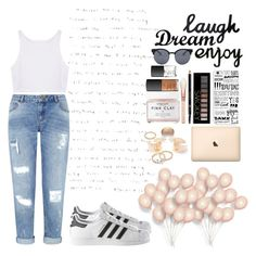 """""""Dream, Laugh, and Enjoy Life"""" by newyorkchic21 ❤ liked on Polyvore featuring Miss Selfridge, adidas, Quay, Dot & Bo, Casetify, Forever 21, Gucci, Herbivore, NARS Cosmetics and momjeans"""
