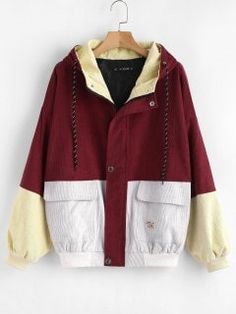 9b46c35b53f02 Hooded Color Block Corduroy Jacket - Cherry Red S Red Corduroy Jacket,  Spring Fashion Casual