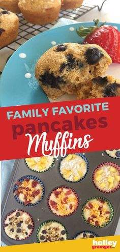 Favorite Pancakes Muffins This quick and easy breakfast is sure to be a family favorite. Use your favorite brand of pancake mix for the base then add your favorite toppings for on the go breakfast or use these muffins for a healthy snack. Best Breakfast Recipes, Brunch Recipes, Breakfast Ideas, Pancake Recipes, Oven Recipes, Top Recipes, Meat Recipes, Delicious Recipes, Recipies