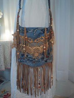 Handmade Denim CrossBody Bag Boho Hippie Purse Beaded Leather Fringe Lace  tmyers in Clothing e10a88c63816d