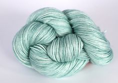 Hand Dyed Yarn - Merino Silk Yarn - DK - Spearmint Ice in seaglass and lightest mint green by ClementineAndThread on Etsy