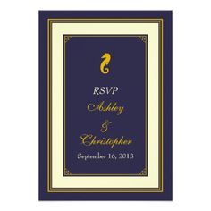 DealsNavy Gold Seahorse Nautical Wedding Response Card Custom Inviteso please read the important details before your purchasing anyway here is the best buy