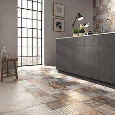 Porcelain stoneware wall/floor tiles UNIKA by ABK Industrie Ceramiche Best Flooring, Kitchen Flooring, Floor Design, Tile Design, Patchwork Tiles, Style Loft, Black Interior Doors, Wall And Floor Tiles, Cuisines Design