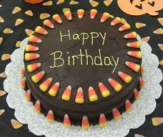 Fall themed, birthday cake by Charlene Owens ...maybe try with pumpkin candy corn & peanut butter icing!