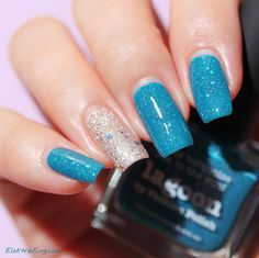 Picture Polish Lagoon, accent nail: Picture Polish Majesty & OPI Muppets World Tour