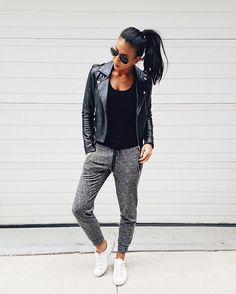 Pin for Later: 20 Outfits to Wear Out Now — and Nap in Later A Leather Jacket, Solid Shirt, Joggers, and Sneakers