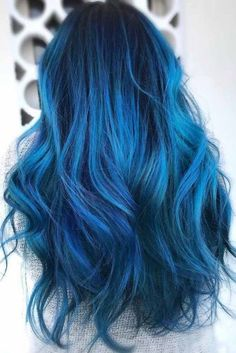 35 Tasty Blue-Black Hair Color Ideas To Choose In Any Season . - 35 tasty blue-black hair color ideas to try in any season – # Tasty color - Black Blue Ombre Hair, Dark Blue Hair, Ombre Hair Color, Hair Color For Black Hair, Cool Hair Color, Navy Blue, Blue Wig, Raven Hair Color, Black Hair With Blue Highlights