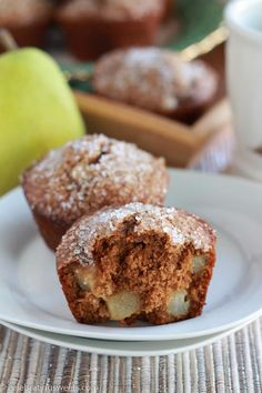 Moist gingerbread muffins, filled with warm spices, rich molasses and fresh pear.