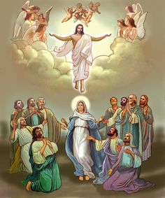 Jesus Painting - Ascension into Heaven by Lash Larue Pictures Of Jesus Christ, Religious Pictures, Blessed Mother Mary, Blessed Virgin Mary, Catholic Art, Religious Art, Art Heaven, Ascension Of Jesus, Image Jesus