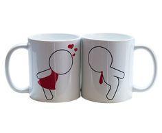 Tazas de pareja $229 Cerámica decorada con diseño beso de pareja  Despedidas de soltera / Regalo San Valentine