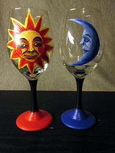 Sun and moon wine glass set hand crafted by myself. These glasses are painted with a special paint for glass, and have been cured to be hand wash