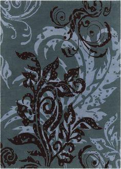 Arae Hand Tufted Rectangle Transitional Blue/Black Area Rug