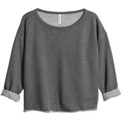 H&M Sweatshirt ($4.70) ❤ liked on Polyvore featuring tops, hoodies, sweatshirts, sweaters, shirts, crop top, dark grey, cropped sweatshirt, h&m and extra long sleeve shirts