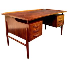 Danish Curved Rosewood Desk by Svend Aage Madsen 1