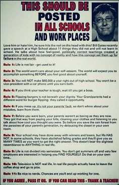 "I'm posting this in my classroom!! ""Bill Gates"" High School Rules. This was actually written by Charles J. Sykes, best known as the author of ""Dumbing Down Our Kids: Why American Children Feel Good about Themselves, but Can't Read, Write, or Add."""