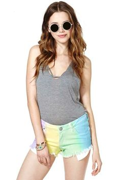 Reverse Rainbow Dream Cutoff Shorts