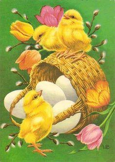 Klikk for å lukke Easter Art, Easter Eggs, Easter Wallpaper, Spring Images, Easter Pictures, Easter Parade, Easter Printables, Easter Holidays, Vintage Greeting Cards