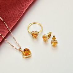 TZ001 Bridal Jewelry Solid 18K Yellow Gold Genuine Diamond Citrine Jewelry Set