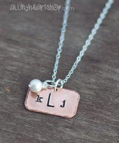 Monogram Necklace  Hand Stamped Rustic Copper by allmyheartshop, $26.00