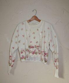 Vintage 80s Sweater Floral Print Wool Cardigan by founditinatlanta