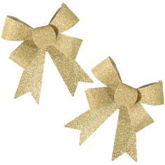 2 Christmas SMALL Sparkling Glitter Ribbon Bows GOLD (640 CNY) ❤ liked on Polyvore featuring home, home decor, holiday decorations, earrings, christmas, fillers, accessories, jewelry, gold home accessories and christmas holiday decor