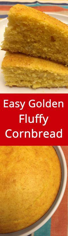 Easy Golden Fluffy Cornbread Recipe   MelanieCooks.com