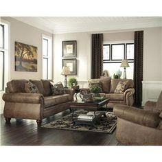 Signature Design by Ashley Larkinhurst - Earth Traditional Roll Arm Corner Sectional - Wayside Furniture - Sofa Sectional Akron, Cleveland, Canton, Medina, Youngstown, Ohio