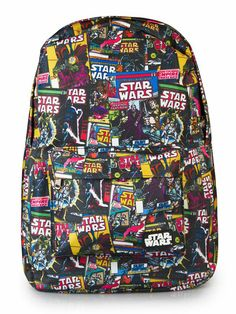 Star Wars Color Comic Print Backpack by Loungefly (Black) #InkedShop #starwars #vader #darth #darthvader #comic #bobafett #stormtrooper #bookbag #backpack #b2s #geekchic #nerdy #cool