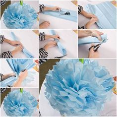 Tissue paper pom poms I literally did this just today for a party. It's so easy and fun. When you're stumped on how to decorate a room, make this!