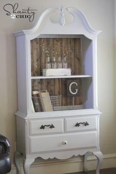 Reclaimed wood for shelf backing. Rustoleum furniture painting kit