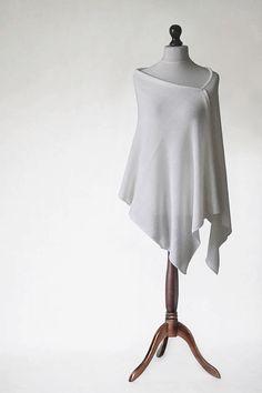Wedding poncho, merino poncho, knit poncho, knit shawl, white scarf, white…