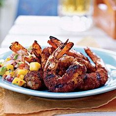 Jerk Shrimp with Grilled Onion, Avocado, and Mango Salsa | MyRecipes.com