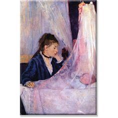 Berthe Morisot 'Mother Looks at Baby in the Cradle' 14x21-inch Art
