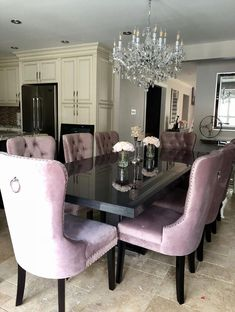 Blush Pink Tufted Dining Chairs #tufteddiningchairs