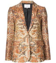 Multicolor classic persian blazer from Frame Denim. Shop now! Gold Blazer, Brown Blazer, Velvet Blazer, Velvet Jacket, Frame Denim, Colored Blazer, Denim Fashion, Blazer Jacket, Polyvore