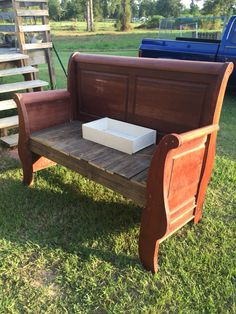 Full size headboard bench we made out of a curbside find!!!