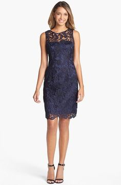 Adrianna Papell Illusion Bodice Lace Sheath Dress (Regular & Petite) | Nordstrom