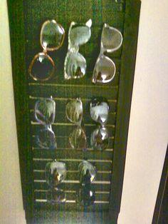 homemade shutter sunglass holder :) made from spare wood, 5 yardsticks, wood glue, and black paint :)