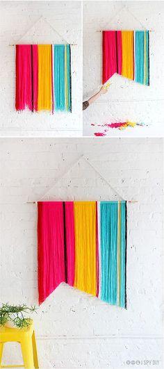 DIY   Cotton Yarn Wall hanging