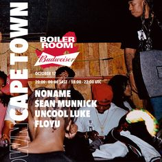 We continue our travels for Boiler Room x Budweiser - next stop, Cape Town. There we'll be joined by Noname, Sean Munnick and Cape Town locals Uncool Luke and Flōyu.