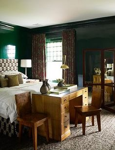 hunter green walls :: masculine bedroom.  Not the style, but these color combos.