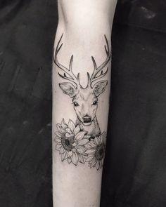 Animal Tattoos For Women, Tattoos For Women Half Sleeve, Sleeve Tattoos For Women, Cute Tattoos, Beautiful Tattoos, Body Art Tattoos, Doe Tattoo, Raven Tattoo, Tattoo Ink