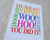Congratulations card, well done you, passed exams, driving test card, new job card, stylish, gorgeous greeting card design, graduation card