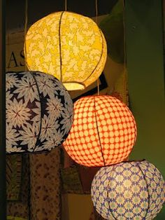 imagine these in girly patterns hung at different lengths in a spiral and I think you would have an awesome girly lighting option