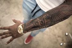Dope Tattoos, Black Men Tattoos, Forarm Tattoos, Forearm Sleeve Tattoos, Best Sleeve Tattoos, Tattoo Sleeve Designs, Script Tattoos, Arabic Tattoos, African Warrior Tattoos