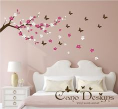 Cherry Blossom Branch with Butterflies Vinyl Wall by CanoDesigns