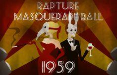 Our theme.  Fun.  Bioshock Masquerade Ball Print. $16.00, via Etsy.