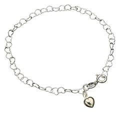 "Sterling Silver Heart Link Charm Nickel Free Chain Bracelet Italy, 7.5"" ** Read more @ http://www.amazon.com/gp/product/B00V7QWS56/?tag=splendidjewelry07-20&pqr=140716235006"